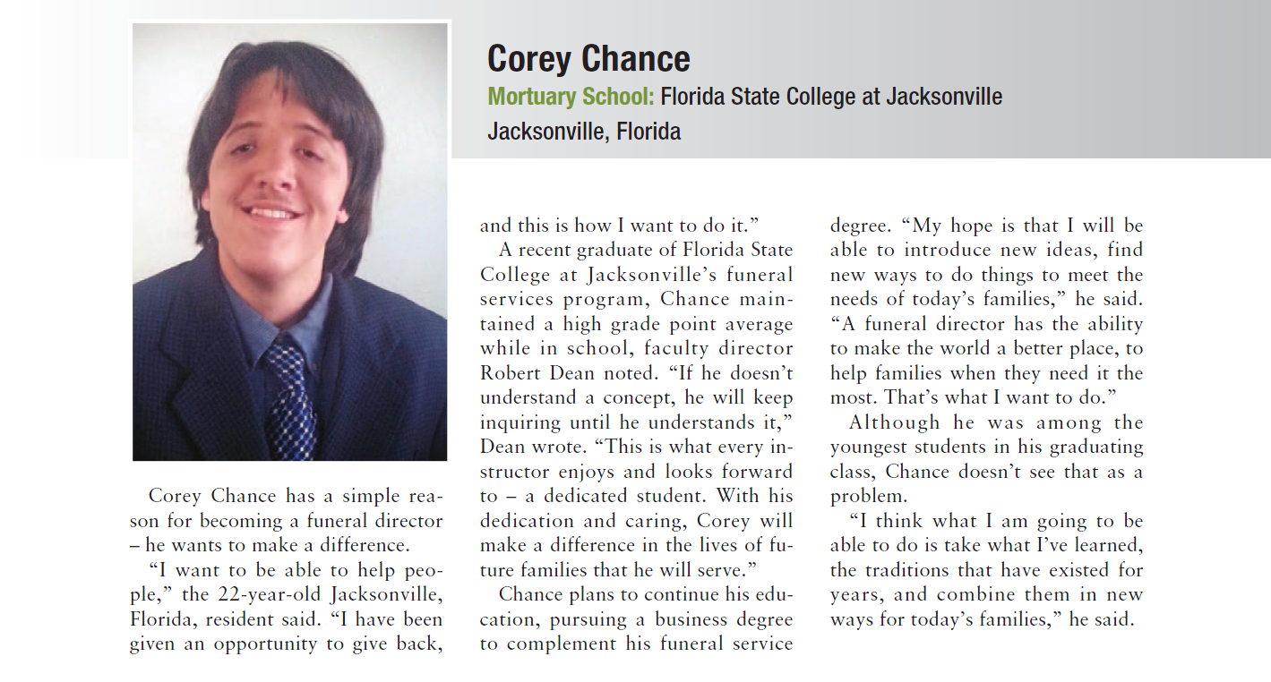 Corey Chance article in trade publication